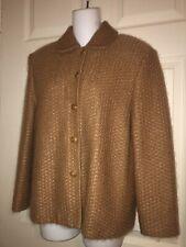 St. John Collection Caramel Mohair Cashmere Wool Silk Lined Luxurious Jacket 10