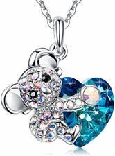 Koala Bear Blue Heart Pendant Necklace Jewelry Gift Crystals SWAROSKI Orginal