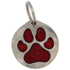 ST JUSTIN PEWTER - DOG TAG - RED PAW PRINT
