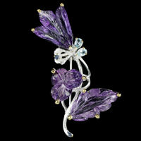 REAL 24X13 MM. MULTI COLOR AMETHYST, TOPAZ & SAPPHIRE STERLING 925 SILVER BROOCH