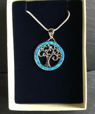 "Blue Fire Opal 925 Silver Plated Tree Of Life Pendant With 18"" Chain Gift Boxed"