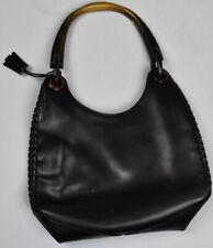 GUCCI Leather Whipstitch Wooden Handle Bag Purse Handbag MSRP $1000