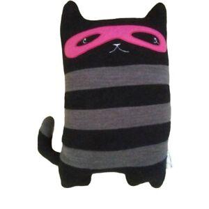 "Pillowfort Masked Cat Capers Throw Pillow Plush  Black Bandit Kitty 15"" Decor"