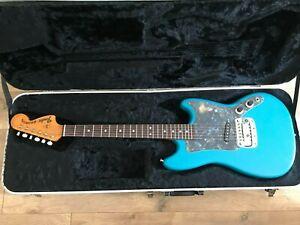 USA Fender Bronco Electric Guitar, Blue; vintage relic, blue refinished.