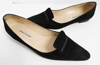 Manolo Blahnik Black Suede Leather Loafer Flats Italy 40.5