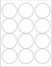 """6 SHEETS 2-1/2 ROUND CIRCLE BLANK WHITE  STICKERS LABEL ~Standard 8-1/2""""x11"""""""