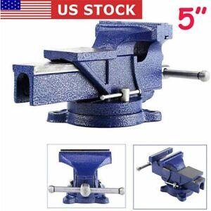 "5"" inch Mechanic Bench Vise Table Clamp Press Locking Swivel Base Heavy Duty"