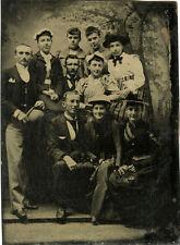 1/6 PLATE ANTIQUE TINTYPE PHOTO PORTRAIT OF THREE MEN WITH SEVEN WOMEN