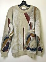 Vtg Protege Cosby Biggie Hip Hop 80s 90s Sweater Size L Large Coogi Tan & Brown