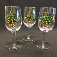 "Nikko Happy Holidays Christmastime 6oz. Wine Glasses 6"" Tall Set of 3"