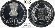 1973 B MS63 India Silver 20 Rupees FAO PCGS KM# 240 Grow More Food