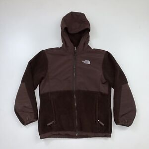 Girls The North Face Fleece Hoodie Jacket Size Large Brown Full Zip