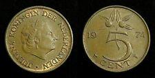 Netherlands - Juliana 5 Cent 1974 UNC deels originele muntkleur
