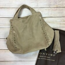 MONTINI Italy Beige Leather Shoulder Bag Large Handbag Crossbody Hobo Studs NEW