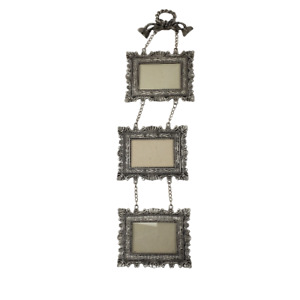 """Sixtrees Pewter Triple Hanging Frames 2x3"""" Pictures 16"""" Tall"""