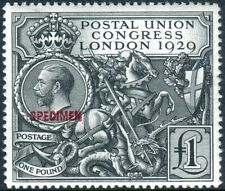 Sg 438s £1 Black OVPT SPECIMEN.  A fine mint example accompanied by an RPS cert