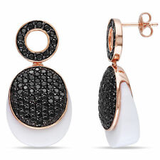 Amour Pink Rhodium Plated Silver White Agate & Black CZ Dangle Earrings