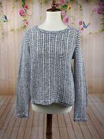 Eileen Fisher Medium Petite Womens Black White Marled Knit Sweater