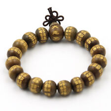 10mm Buddha Word Wood Beads Tibet Budhist Prayer Bracelet Mala