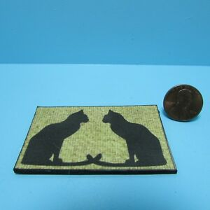 Dollhouse Miniature Welcome Door Mat  Accent Rug with Cats HW475H