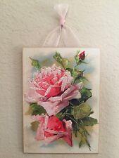 Vintage Catherine Klein Pink Roses Postcard Plaque