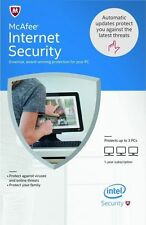 New McAfee Internet Security 2017 3 PCs 1 Year (Full License + Download)