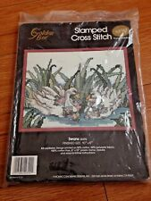 "Golden Bee Stamped Cross Stitch Kit Swans 10"" x 8"" w/ Frame"