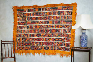 Vintage North African Embroided Cotton Wall Hanging