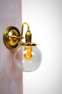 Simply Vintage and Modern Clear or White Globe Brass Arm Wall Sconce