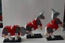 CASTLE KNIGHT MINIFIGURES ARMOURED HORSES X 3.