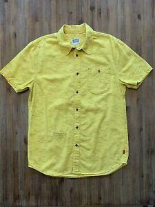 ALTAMONT Size L Short Sleeve Yellow Wave Skate Shirt Men's