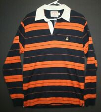 New Brooks Brothers Long Sleeve Polo Rugby Shirt Men's S Orange Navy Blue