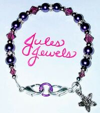 Top Brand Crystals & Glass Pearls Amethyst Purple Medical Alert ID Bracelet