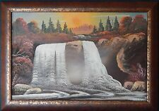Original Oil Painting on Board 'Black Water Falls' by Touvist Artist Hertig