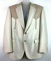 CIRCLE S Men's Beige 2 Button Blazer Sport Jacket Suit Coat Western 44R