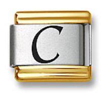Italian Charm Bracelet Link Laser Initial Letter C Gold Trim Stainless Steel 9mm