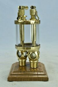 """Antique UNBRANDED POLISHED BRASS 'DUPLEX"""" SIGHT FEED GLASS LUBRICATOR #02255"""
