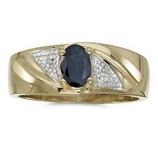 Mens Genuine Sapphire and Diamond Ring 10K Yellow Gold