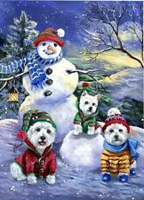 WESTIE HOLIDAY SNOWBALLS GARDEN FLAG  FREE SHIP USA RESCUE