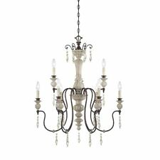 Curry & Co Hannah Chandelier French Country Washed Wood & Metal Look4Less $750