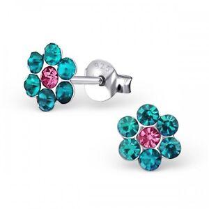 Girls 925 Sterling Silver Blue Zircon Crystal Flower Stud Earrings - Boxed