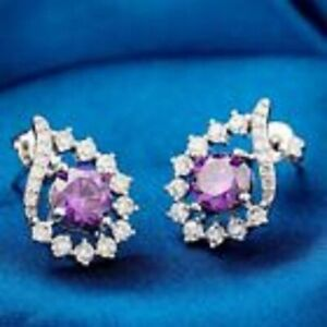 18K White Gold Plated Clear Purple Cubic Zirconia Stud Earrings