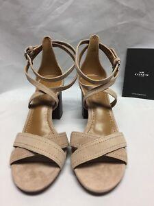 Coach Phoebe Strappy Block Heel Sandals Suede Beachwood A01997 NIB