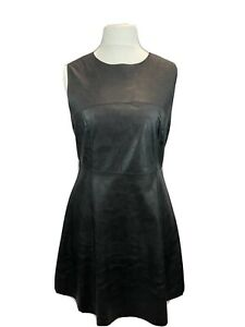 New Look Black Faux Leather  Sleeveless Shift Dress A Line Skirt Size 14 Casual