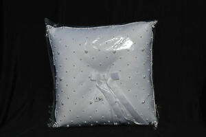 NIB White Satin Bridal/Wedding Ring Bearer Pillow with Faux Seed Pearls