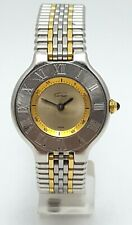 Cartier Must DE 21 1340 Quartz Watch Two Tone Stainless Steel & 18K Gold Plated