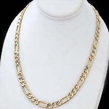 "6mm DIAMOND CUT FIGARO Link 24K 14K GOLD GL 18"" Necklace 