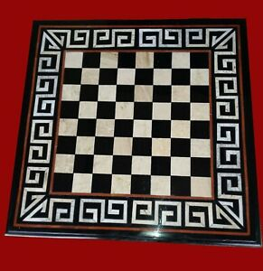 24 Inches Marble Chess Table Top Patio Coffee Table with Unique Art at Border