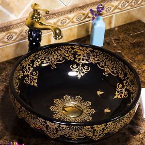 Vintage Black Gold Floral Pattern Bathroom Ceramic Counter Top Wash Basin Sink