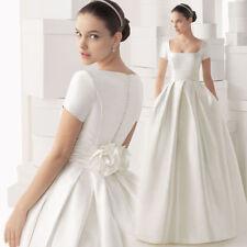 2018 Plus Size Wedding Dress Short Sleeve White/Ivory Satin Bridal Gown Custom